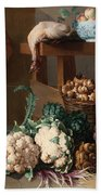 Pantry With Artichokes Cauliflowers And A Basket Of Mushrooms Beach Towel