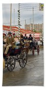 Parade Of Horse Drawn Carriages On Antonio Bienvenida Street Wit Beach Towel