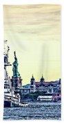 Parade Of Tugs, Hudson River, New York City Beach Towel