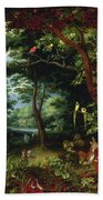 Paradise Scene With Adam And Eve Beach Towel