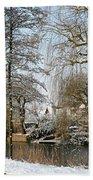 Walk In A Snowy Park Beach Towel