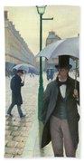 Paris A Rainy Day - Gustave Caillebotte Beach Towel