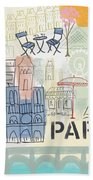 Paris Cityscape- Art By Linda Woods Beach Sheet by Linda Woods