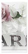 Paris Dreamy Pastel Pink Roses On Paris Book - Romantic Paris Roses And Books Shabby Chic Art Beach Towel