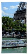 Paris Eiffel Boat Beach Sheet