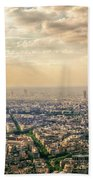 Paris Eiffel Skyline And Cityscape Aerial View At Sunset From Montparnasse Tower Observation Deck  Beach Towel