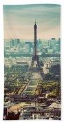 Paris, France Vintage Skyline, Panorama. Eiffel Tower, Champ De Mars Beach Towel
