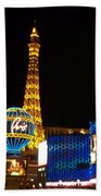 Paris Hotel At Night Beach Towel