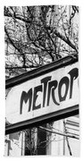 Paris Metro Sign Bw Beach Towel