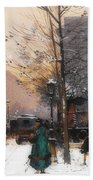 Paris, Porte Saint Denis In Winter Beach Towel