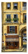 Parisian Bistro And Butcher Shop Beach Towel by Marilyn Dunlap