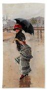 Parisienne On A Rainy Day Beach Towel