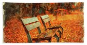 Park Bench In Fall Beach Towel