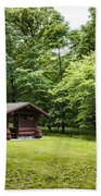 Park Shelter In Lush Forest Landscape Beach Towel