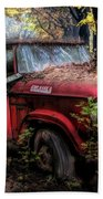 Parked On A Country Road Oil Painting Beach Towel