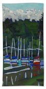 Parked Yachts Beach Towel