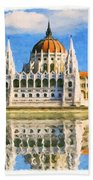 Parliament Of Budapest Beach Towel
