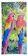Parrots In Jungle Beach Towel