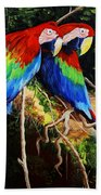Parrots In The Jungle Beach Towel