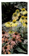 Pastel Cone Flowers Beach Towel