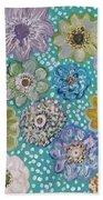 Pastel Floral Garden Beach Towel