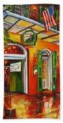 Pat O'brien's Bar On Bourbon Street Beach Towel