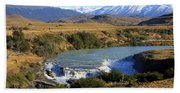 Patagonia Landscape Of Torres Del Paine National Park In Chile Beach Sheet