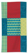 Patchwork Patterns - Muted Primary Beach Towel