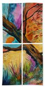 Patchwork Sky Tree Painting With Colorful Sky Beach Towel