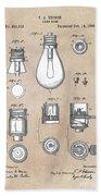 patent art Edison 1890 Lamp base Beach Towel