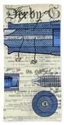 Patent, Old Pen Patent,blue Art Drawing On Vintage Newspaper Beach Towel