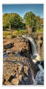Paterson Water Falls Black And White Beach Towel