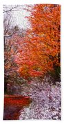 Path In Fall With Early Snowfall Beach Towel