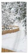 Path In Snow Beach Towel