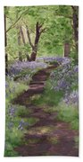 Path Through The Bluebells Beach Towel