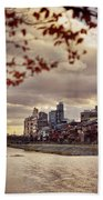 Pathway Along Kamo River In A Beautiful Dramatic Autumn Sunset S Beach Towel