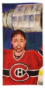 Patrick Roy Wins The Stanley Cup Beach Towel