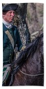 Patriot On Horse At Tower Park Battle Beach Towel