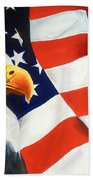 Patriotic Eagle And Flag Beach Towel