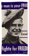 Patriotic World War 2 Poster Us Allies Canada Beach Towel