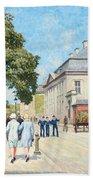 Paul Fischer, Sunny Street Scene, Bredgade, Copenhagen. Beach Towel