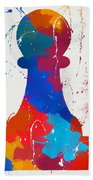 Pawn Chess Piece Paint Splatter Beach Sheet