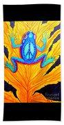 Peace Frog On Fall Leaf Beach Sheet