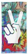 Peace Hand Sign 1  Beach Towel