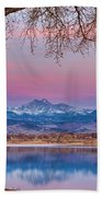 Peaceful Early Morning First Light Longs Peak View Beach Towel