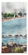 Peaceful Morning At The Harbor  Beach Towel