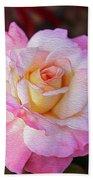 Peach And White Rose Beach Towel
