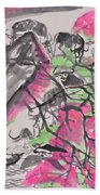 Peach Blossom And Water Buffalo Beach Towel