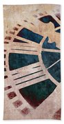 Peach Pink And Night Blue Clock Face Beach Towel by Marianna Mills