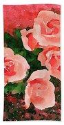 Peach Roses Beach Towel